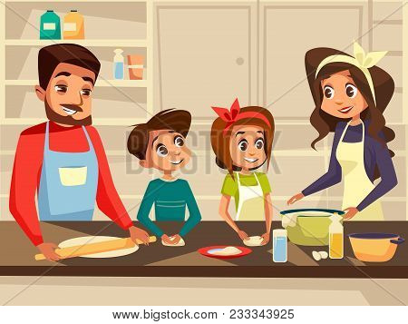 Modern Family Together Cooking At Kitchen Vector Cartoon Flat Illustration. Happy European Caucasian