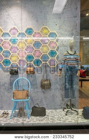 Da + Pp Shop At Fashion Island, Bangkok, Thailand, Mar 22, 2018 : Fashionable Brand Window Display.