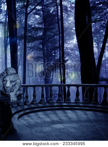 A Balcony With A Lion Statue Overlooking The Trees And Woods.