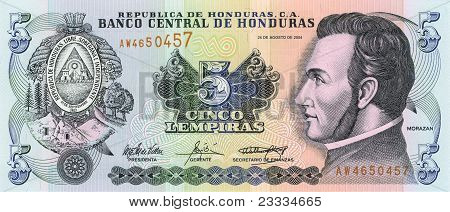 5 Lempira Bill Of Honduras