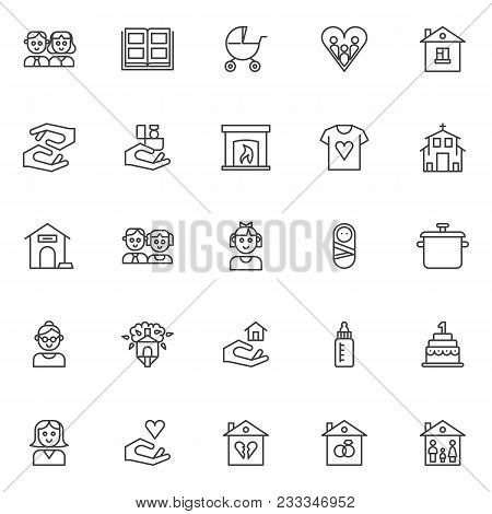 Family Outline Icons Set. Linear Style Symbols Collection, Line Signs Pack. Vector Graphics. Set Inc