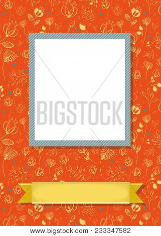 Floral Greeting Card. Graceful Yellow Flowers And Plants With Drawing Effect. Blue Frame For Custom