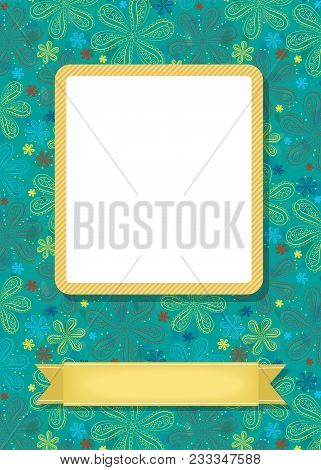 Graceful Greeting Card. Geometric Colorful Floral Pattern. Yellow Frame For Custom Photo. Yellow Ban