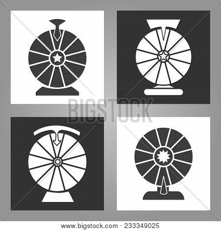Spinning Wheel Icons. Lottery Money Game Symbols, Monochrome Wheels Of Fortune Signs Set, Vector Ill