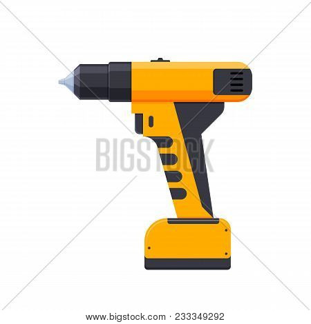 Electric Screwdriver, With Cross-shaped And Conventional Nozzle. Working Tool For Repair, Constructi