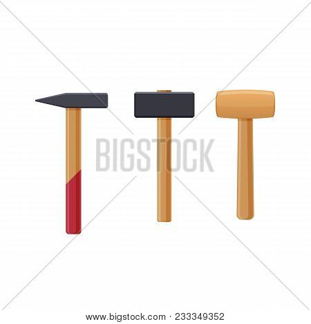 Set Of Instruments Sledge Hammer, Hammer, Wooden Mallet. Working Tool Of Carpenter, Builder. Tools W