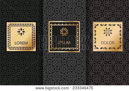 Set Of Black Luxury Seamless Patterns Background In Trendy Linear Style. Vector Illustration For Ele