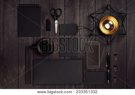 Corporate Identity Set Of Blank Black Stationery With Phone, Coffee Gold Magen David On Luxury Dark