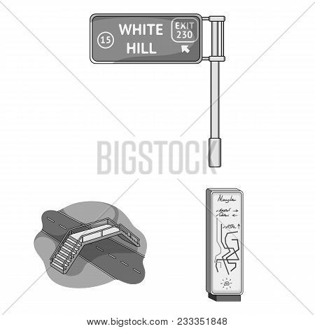 Road Junctions And Signs And Other  Icon In Monochrome Style.pedestrian Crossings And Signs Icons In