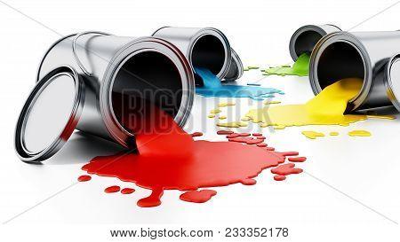 Open Metal Paint Cans With Spilled Paints. 3d Illustration.