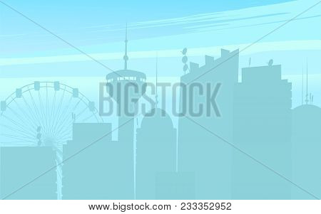 Vector Illustration Of Silhouette Of Modern Skyscrapers And City Buildings On Blue Background.