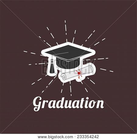 Graduation Cap. Diploma. Graduation Hat. Graduates Symbol Vector Illustration