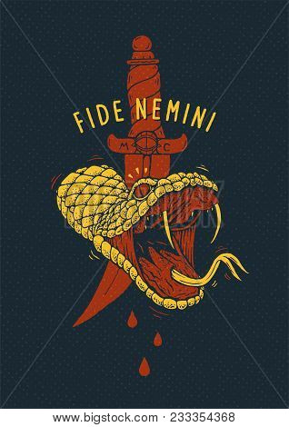 Vector Tee-shirt Print With A Cut Off Snake Head And Latin Proverb Fide Nemini, Trust Nobody. Angry