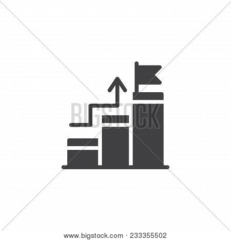 Growing Bar Chart With Flag On Peak Vector Icon. Filled Flat Sign For Mobile Concept And Web Design.