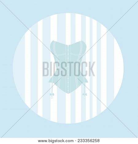 One Light Blue Corsets On A White Background.