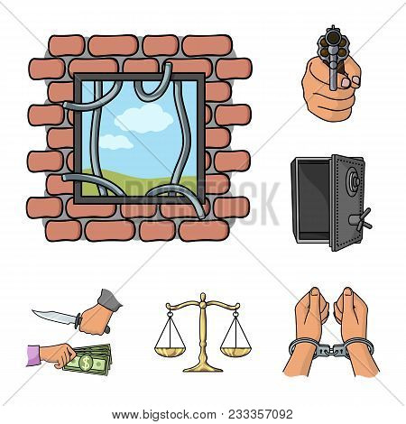 Crime And Punishment Cartoon Icons In Set Collection For Design.criminal Vector Symbol Stock  Illust