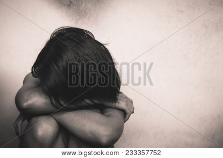 Asian Woman Sits And Hugs Her Knees, Sad Feeling, Crying, Broken Heart, Why Did You Leave Me-concept