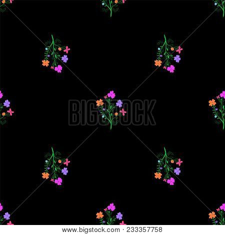 Abstract Tileable Floral Pattern With Colorful Flowers