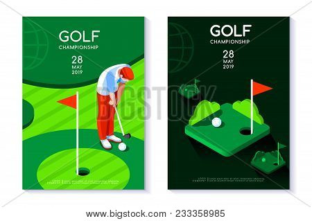 Hobby Sport Golf Poster Template With Hole And Green For Circle Tournament. Vector Design In Modern