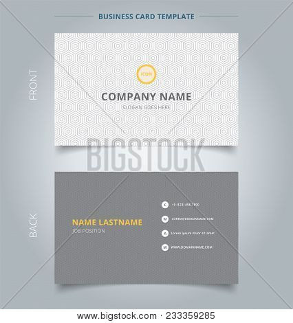 Creative Business Card And Name Card Template Gray Hexagon Pattern On White Background. Abstract Con