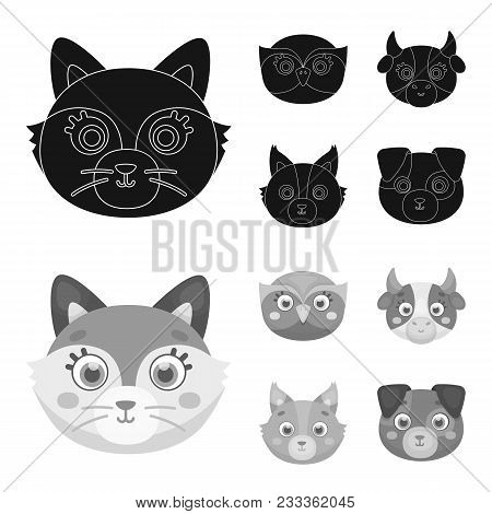 Owl, Cow, Wolf, Dog. Animal Muzzle Set Collection Icons In Black, Monochrom Style Vector Symbol Stoc