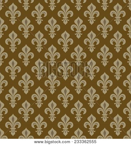 Royal Heraldic Lilies (fleur-de-lis) -- Noble Bronze Copper Patina Velvet, Seamless Pattern, Wallpap