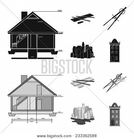 Drawing Accessories, Metropolis, House Model. Architecture Set Collection Icons In Black, Monochrom