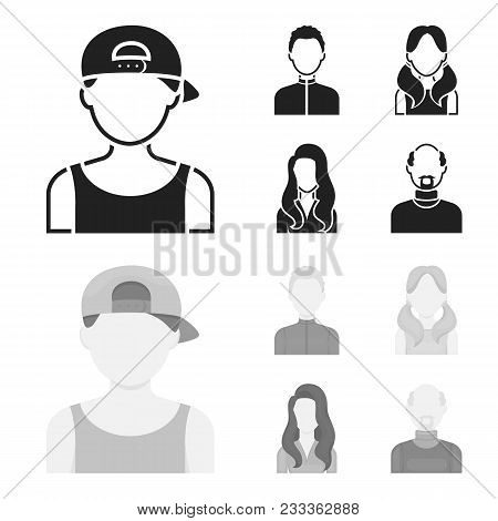 Boy Blond, Bald Man, Girl With Tails, Woman.avatar Set Collection Icons In Black, Monochrom Style Ve
