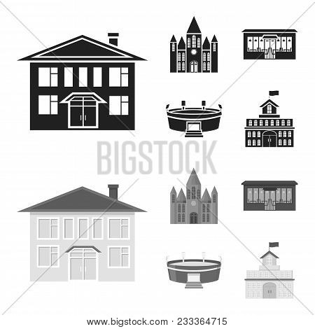 House Of Government, Stadium, Cafe, Church.building Set Collection Icons In Black, Monochrom Style V