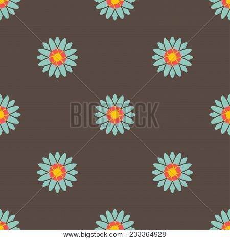 Flower With Blue Petal And Yellow Pink In The Middle On Brown Background.