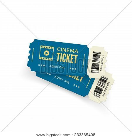 Movie Ticket. Blue Cinema Tickets Isolated On White Background. Realistic Cinema Ticket Template. Ve