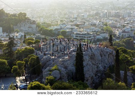 Areopagus In Athens ,greece, The Areopagus At Sunset, The People At The Areopagus, The People On The