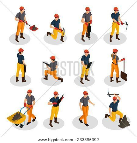 Isometric Mining Characters Set Wearing Uniform And Working With Mining Equipment And Manual Labor T