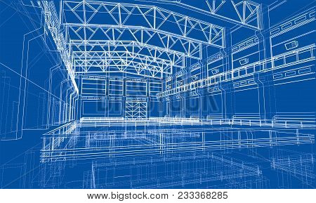 Warehouse Sketch Or Blueprint. 3d Illustration. Wire-frame Style