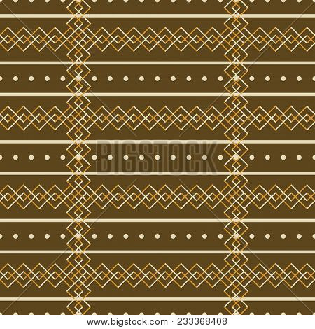 Seamless Abstract Geometric Rustic Pattern. Simple Graceful Vector Print In Brown And Orange Colors
