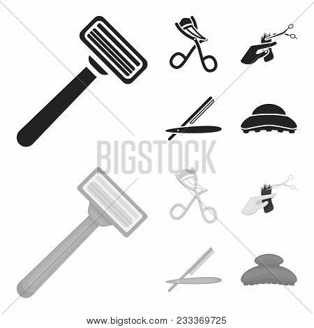 Scissors, Brush, Razor And Other Equipment. Hairdresser Set Collection Icons In Black, Monochrom Sty
