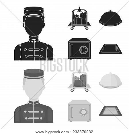 Trolley With Luggage, Safe, Swimming Pool, Clutch.hotel Set Collection Icons In Black, Monochrom Sty