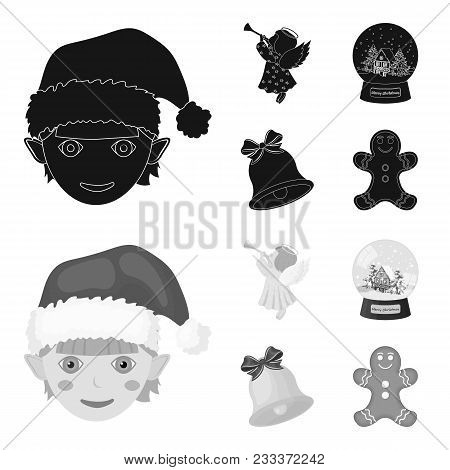 Angel, Glass Bowl, Gingerbread And Bell Black, Monochrom Icons In Set Collection For Design. Christm