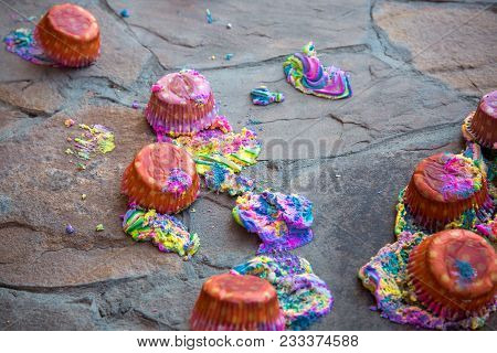 Fresh Sweet Multi-colored Cakes Have Fallen To A Floor, Crash Of Festive Pastries.