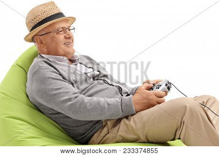 poster of Senior sitting on a beanbag and playing video games isolated on white background
