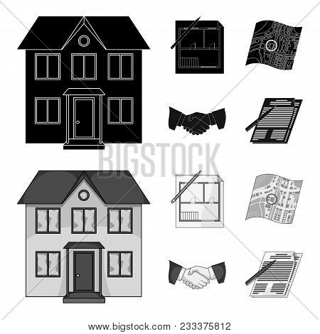 House Plan, Documents For Signing, Handshake, Terrain Plan. Realtor Set Collection Icons In Black, M