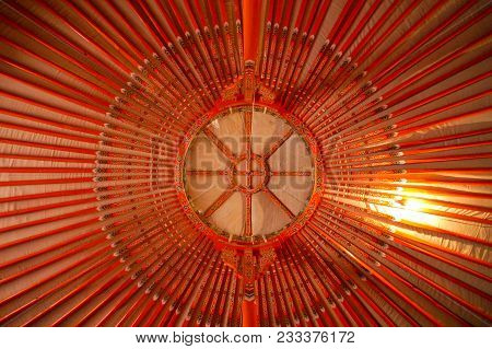 Red Wooden Roof Of A Yurt In Mongolia