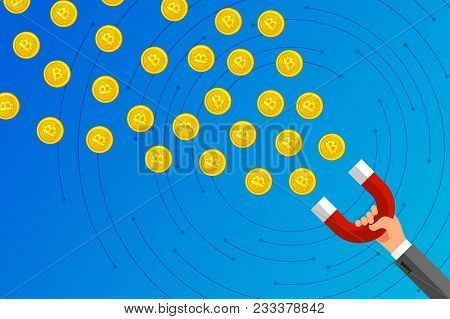 Concept Of Crypto Currency. Businessman Holding Magnet And Attract Bitcoin. Crypto Currency Mining.