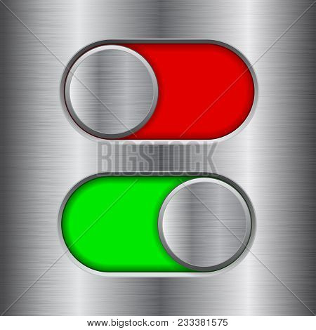 On And Off Round Slider Buttons. Red And Green Metal Switch Interface Buttons On Iron Background. Ve