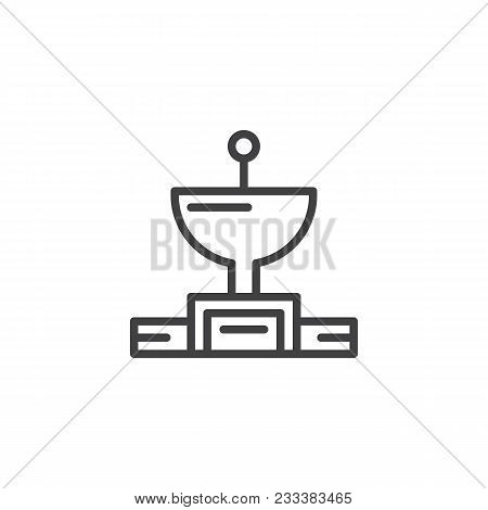 Satellite Dish Antenna Outline Icon. Linear Style Sign For Mobile Concept And Web Design. Radio Astr