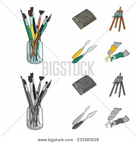 Bank With Brushes, A Drawing Board, An Easel With A Canvas, Paint Knives.artist And Drawing Set Coll
