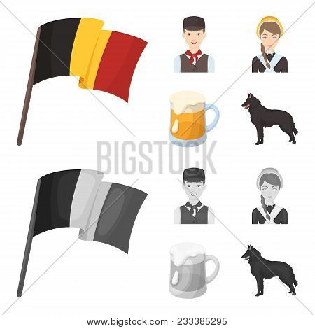 National Flag, Belgians And Other Symbols Of The Country.belgium Set Collection Icons In Cartoon, Mo
