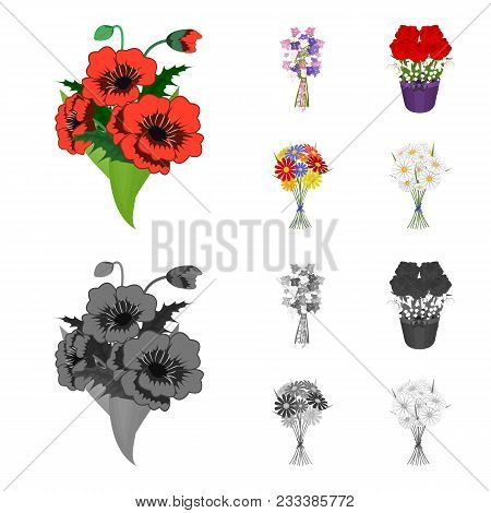 A Bouquet Of Fresh Flowers Cartoon, Monochrome Icons In Set Collection For Design. Various Bouquets