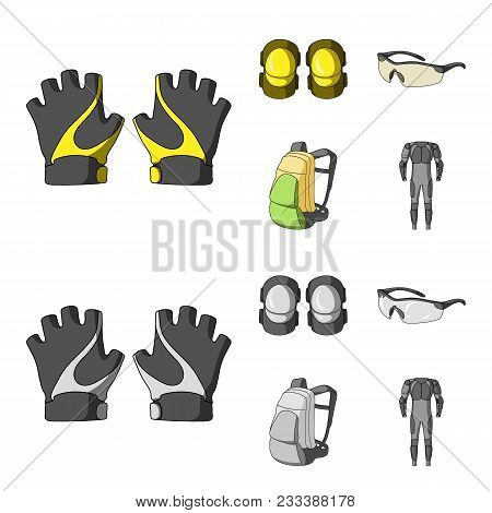 Gloves, Elbow Pads, Goggles, Cyclist Backpack.cyclist Outfit Set Collection Icons In Cartoon, Monoch