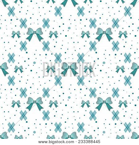 Seamless Pattern With Tie And Bow On A Polka Dot Background. Vector White Illustration.